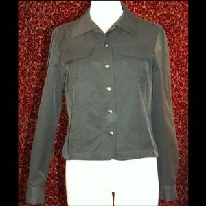 DRAMA olive green long sleeve snap front jacket 6
